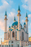View of the minarets mosque Kul-Sharif at sunset. Russia, Tatarstan