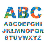 Summer alphabet, capital vector letters