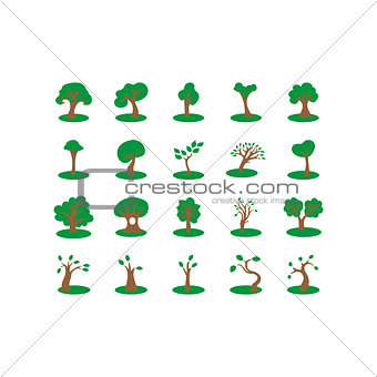 Flat color trees icon set
