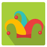 Colored jester hat icon flat style with long shadows, isolated on white background. Vector illustration.