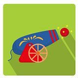 Circus Cannon icon flat style with long shadows, isolated on white background. Vector illustration.