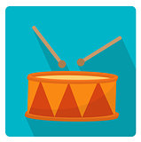 Drum a musical instrument icon flat style with long shadows, isolated on white background. Vector illustration.