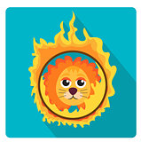 Lion jumping through a ring of fire in the circus icon flat style with long shadows, isolated on white background. Vector illustration.