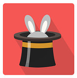 Magician hat with a rabbit icon flat style with long shadows, isolated on white background. Vector illustration.