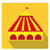 Circus pavilion, yellow tent icon flat style with long shadows, isolated on white background. Vector illustration.