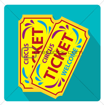 Tickets to the circus icon flat style with long shadows, isolated on white background. Vector illustration.