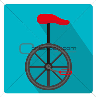 Unicycle circus icon for flat style with long shadows, isolated on white background. Vector illustration.