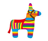 Pinata icon, flat style. Donkey colorful. Isolated on white background. Vector illustration, clip-art.