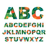 Summer alphabet, capital vector tropical letters