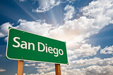 San Diego Green Road Sign Over Clouds
