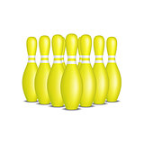 Bowling pins in yellow design with white stripes standing in formation