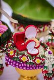 Flower tray with engage ring for Thai traditional wedding