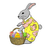 rabbit with basket of eggs