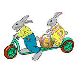 rabbits on the scooter