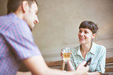 Couple in cafe Communicate and talk with each other