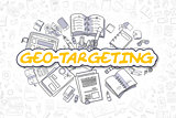 Geo-Targeting - Cartoon Yellow Word. Business Concept.