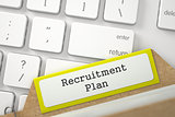 Sort Index Card with Inscription Recruitment Plan. 3d.