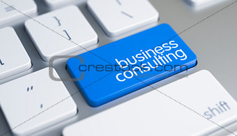 Business Consulting - Message on Blue Keyboard Button. 3D.