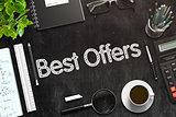 Best Offers Handwritten on Black Chalkboard. 3D Rendering.