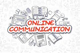 Online Communication - Cartoon Red Word. Business Concept.