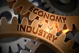 Economy Industry on Golden Cog Gears. 3D Illustration.
