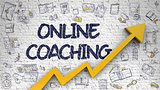 Online Coaching Drawn on White Brickwall. 3d.