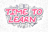Time To Learn - Cartoon Magenta Word. Business Concept.