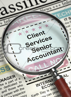 Client Services Senior Accountant Join Our Team. 3D.