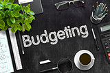 Black Chalkboard with Budgeting. 3D Rendering.