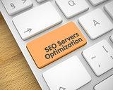 SEO Servers Optimization - Inscription on Orange Keyboard Key. 3