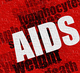 Health concept: AIDS on the Red Wall .
