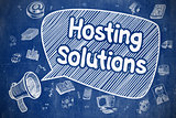 Hosting Solutions - Doodle Illustration on Blue Chalkboard.