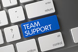 Blue Team Support Button on Keyboard. 3d.