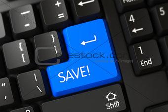 Save - Computer Button. 3d.
