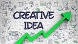 Creative Idea Drawn on White Brick Wall. 3d.