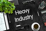 Heavy Industry on Black Chalkboard. 3D Rendering.