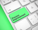 Process Improvement - Text on the Green Keyboard Key. 3D.