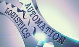 Automation Logistics - Mechanism of Shiny Metal Cogwheels. 3D.