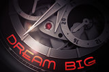 Dream Big on the Automatic Wrist Watch Mechanism. 3D.