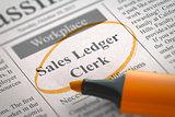 Now Hiring Sales Ledger Clerk. 3D.