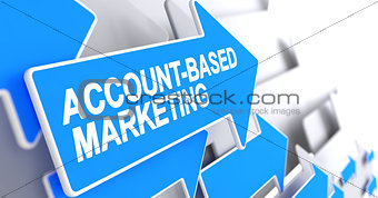Account-Based Marketing - Message on the Blue Arrow. 3D.