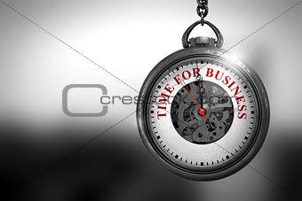 Time For Business on Pocket Watch Face. 3D Illustration.