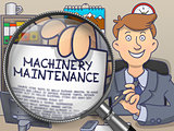 Machinery Maintenance through Magnifier. Doodle Design.