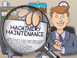 Machinery Maintenance through Magnifier. Doodle Design.