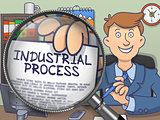 Industrial Process through Magnifying Glass. Doodle Style.