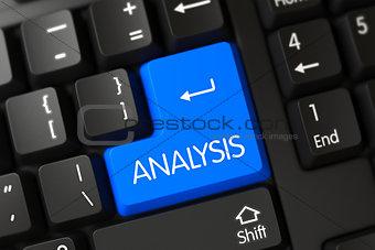 Analysis CloseUp of Blue Keyboard Key. 3D.
