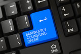 Keyboard with Blue Button - Bankruptcy Counseling Online. 3D.