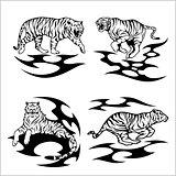 Tribal tigers - vector set