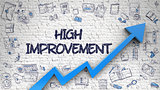 High Improvement Drawn on White Brick Wall. 3d.