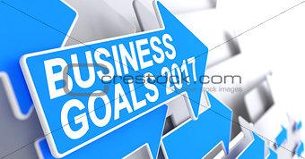 Business Goals 2017 - Inscription on the Blue Arrow. 3D.